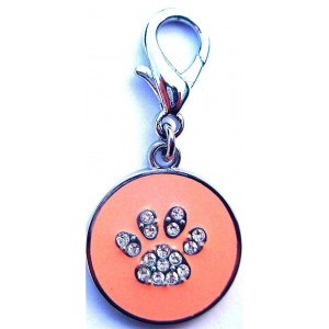 Diamante Paw Print dog or cat Tag in Pink